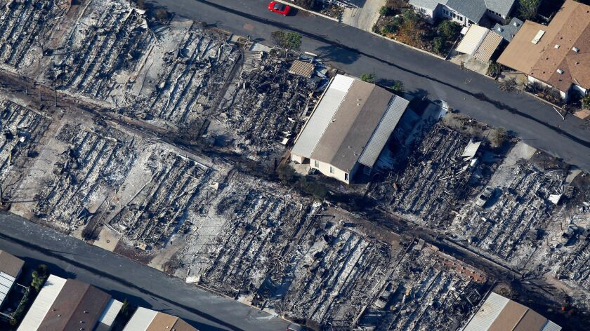 The Lilac Fire burned rows of mobile homes at Rancho Monserate Country Club, a 55 plus resident-owned community east of Bonsall in northern San Diego County