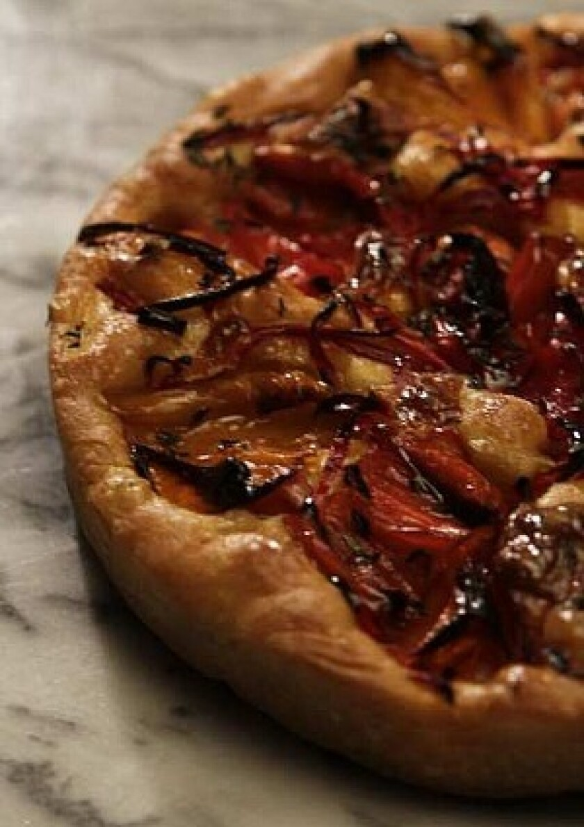Roasted pepper and chile focaccia