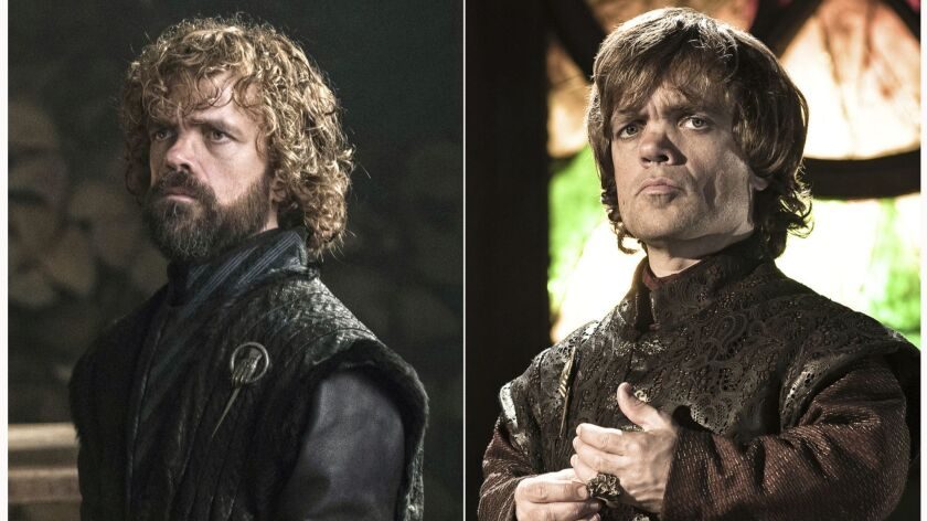 This combination photo of images released by HBO shows Peter Dinklage portraying Tyrion Lannister in