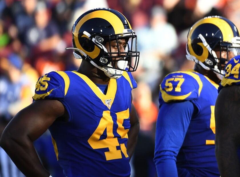 Rams linebacker Obo Okoronkwo (45) played a big role in the team's victory over the Cincinnati Bengals in London on Sunday.