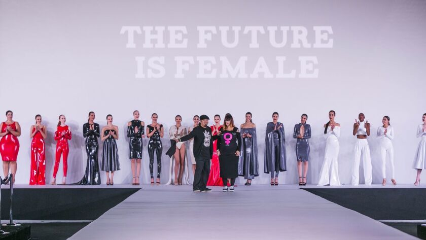 Capes Gowns And Filthy Feminist T Shirts Among The Highlights Of Los Angeles Assorted Fashion Weeks Los Angeles Times