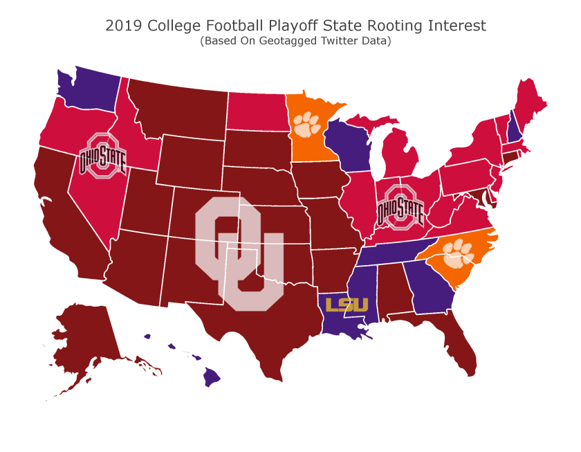 Geotagged Twitter data shows fans' rooting interest in this season's College Football Playoff.