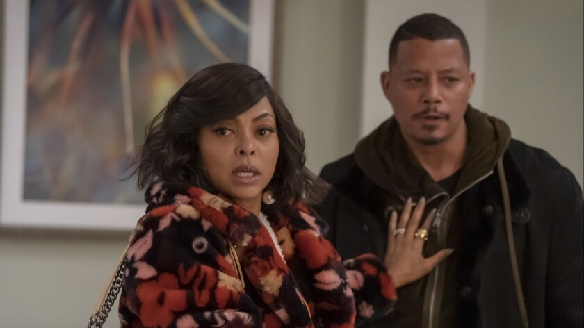 "EMPIRE: L-R: Taraji P. Henson and Terrence Howard in the ""The Roughest Day"" Season Five finale episo"