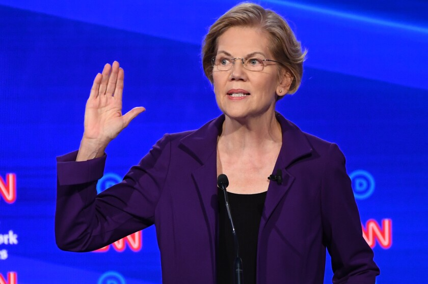 Democratic presidential hopeful Sen. Elizabeth Warren speaks during the Democratic debate in Ohio on Oct. 15.