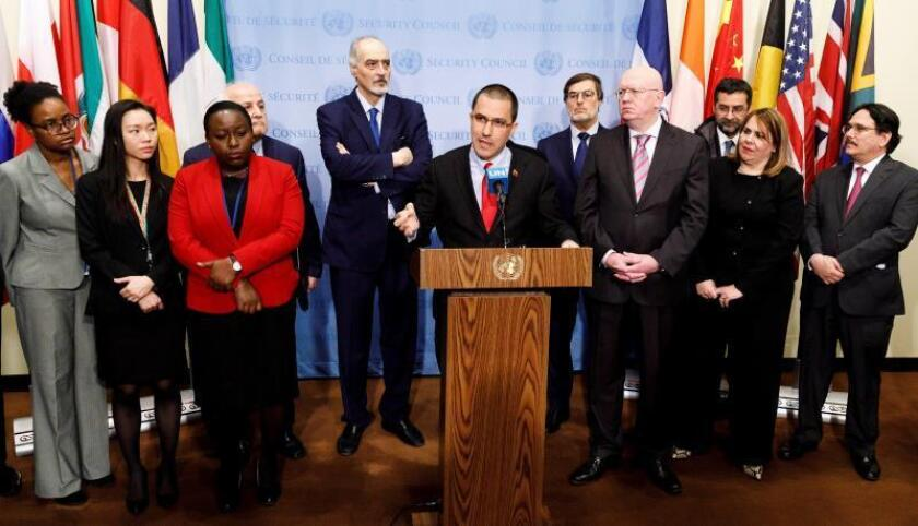 Venezuelan Foreign Minister Jorge Arreaza (c) speaks at the UN flanked by the representatives of supporting nations - including Russia, Iran, Syria, North Korea and China - on Feb. 14, 2019.EFE-EPA/ Justin Lane