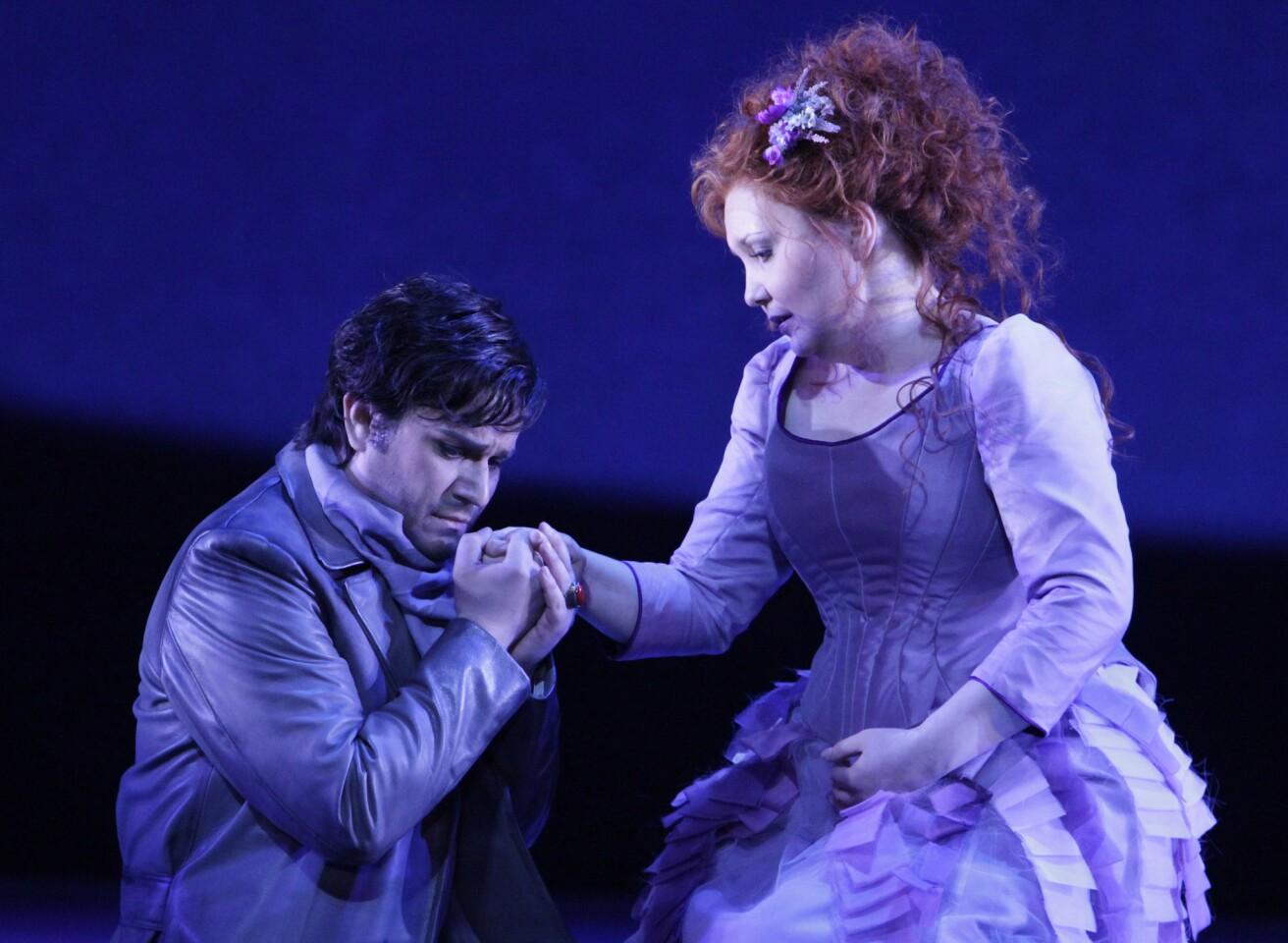 "Saimir Pirgu is Edgardo and Albina Shagimuratova is Lucia in L.A. Opera's ""Lucia de Lammermoor."""