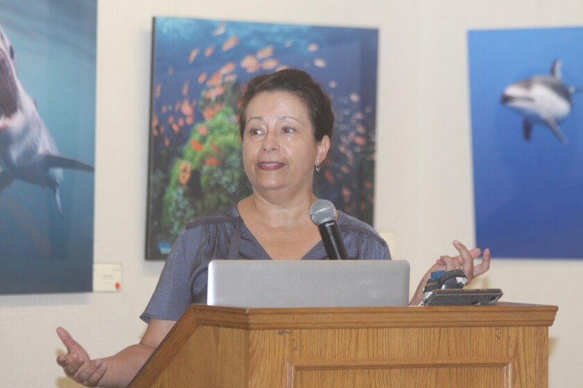 Joanne Standlee, co-founder of the Safe, Healthy Neighborhoods Initiative, speaks at La Jolla Library, Sept. 4.