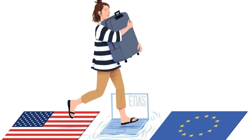 "Illustration for for Catharine Hamm's March 31, 2019 ""On the Spot"" column about visas. (Michael Kirk"