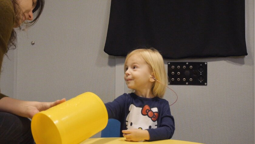 """In this images from video provided by University of North Carolina at Chapel Hill, a toddler participates in a speech perception experiment in a laboratory at the University of North Carolina in Chapel Hill, N.C.. The toddler was conditioned to put a block in the bucket whenever she heard the """"targ"""