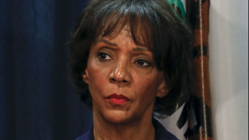Los Angeles County Dist. Atty. Jackie Lacey appears at a 2018 news conference.