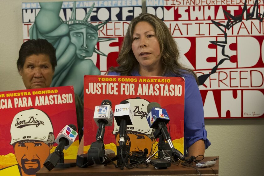 Maria De la Luz (left, mother of Anastasio Hernandez Rojas) and her daughter in-law, Maria Puga (right, widow of  Anastasio Hernandez Rojas) spoke with news reporters at a press conference held at the Alliance San Diego office in North Park.  The press conference was calling attention to heighten t