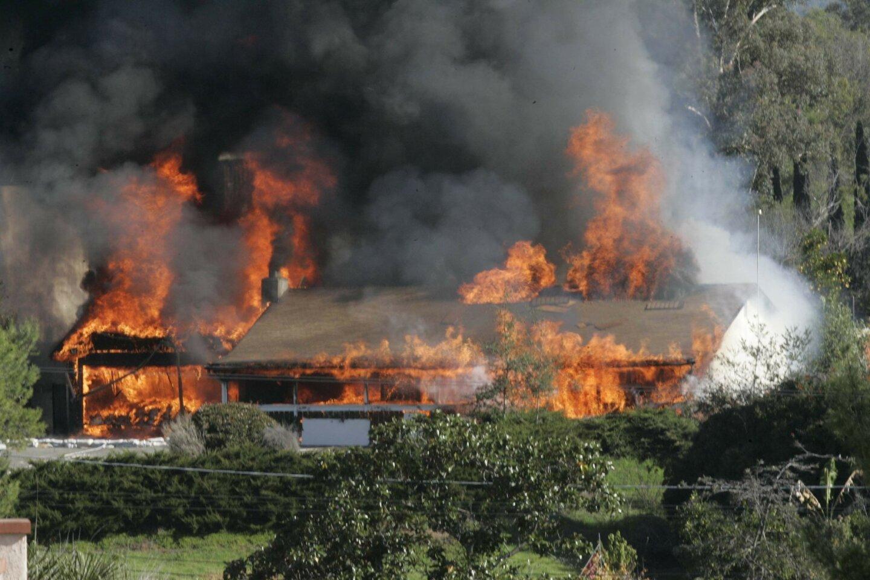 'Bomb Factory' house burns
