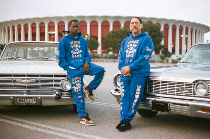 Rapper Buddy and actor Danny Trejo wear Born X Raised's L.A. Rams cobranded sweats.