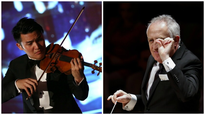 Violinist Ray Chen, left, shown in 2014, and conductor Bramwell Tovey, pictured in 2013, came together for an L.A. Phil program at Disney Hall.
