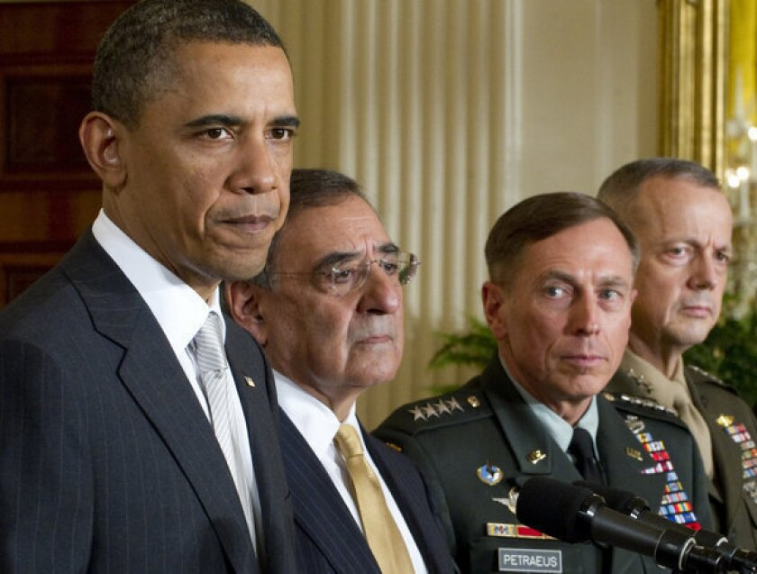 The abrupt resignation of former Central Intelligence Agency Director David H. Petraeus after an extramarital affair came to light, together with expected high-level personnel changes at the State Department and other agencies, create a singular opportunity to embark on the complex process of rebalancing U.S. foreign policy in favor of non-military approaches. Above, from left to right: President Obama, Secretary of Defense Leon Panetta, Petraeus and General John Allen in 2011.