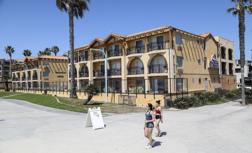 This is the Ocean Park Hotel on the boardwalk in Pacific Beach.