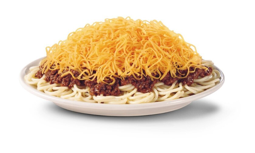 """From Gold Star Chili's website: """"3-Way: Cincinnati's hometown favorite. Piping hot spaghetti smothered in Gold Star Chili's famous recipe chili and generously topped with freshly grated cheddar cheese. Can also be can be served with our Veggie Chili. All Ways available in three sizes: Small, Regula"""