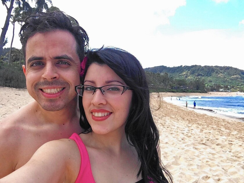 Shaun Eagleson, 30, of Fountain Valley, pictured with his wife, Sandra, died after he was struck by a pickup in Newport Beach in October 2014. Neil Storm Stephany, 24. of Huntington Beach was sentenced to 15 years to life in prison for killing Eagleson.