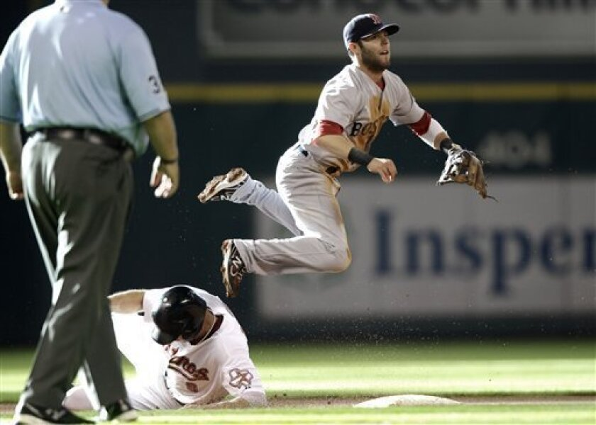 Boston Red Sox second baseman Dustin Pedroia, right, leaps to avoid Houston Astros' Hunter Pence after throwing to first for a double play during the first inning of an interleague baseball game Saturday, July 2, 2011, in Houston. Pence was out at second and Jason Michaels was out at first on the double play. (AP Photo/David J. Phillip)