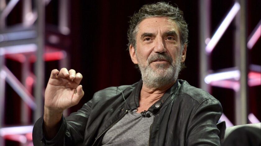 """Veteran producer Chuck Lorre, seen here promoting """"The Kominsky Method"""" during Netflix's day at the Television Critics Assn. press tour in Beverly Hills, is asked about recent allegations against CBS Corp. Chief Executive Les Moonves."""