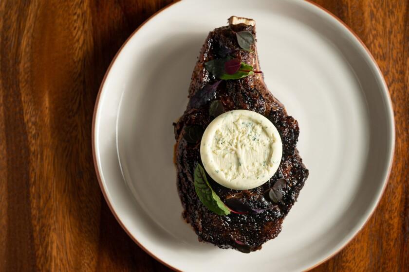 A Flannery Beef dry-aged rib eye steak at Ember & Rye, the new vintage steakhouse at the Park Hyatt Aviara.