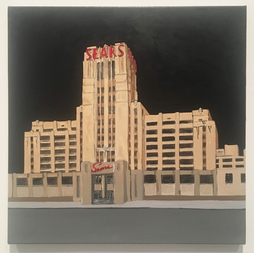 """Sears"" by Robert Levine, 2019.  Oil on canvas, 18 inches by 18 inches."