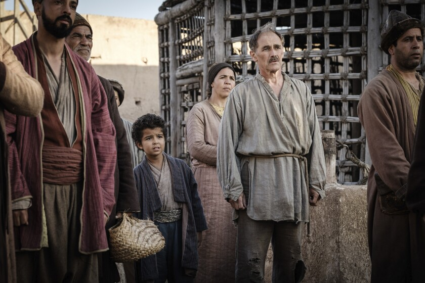 "This image released by Samuel Goldwyn Films shows Mark Rylance, second from right, in a scene from ""Waiting for the Barbarians."" (Fabrizio Di Giulio/Samuel Goldwyn Films via AP)"