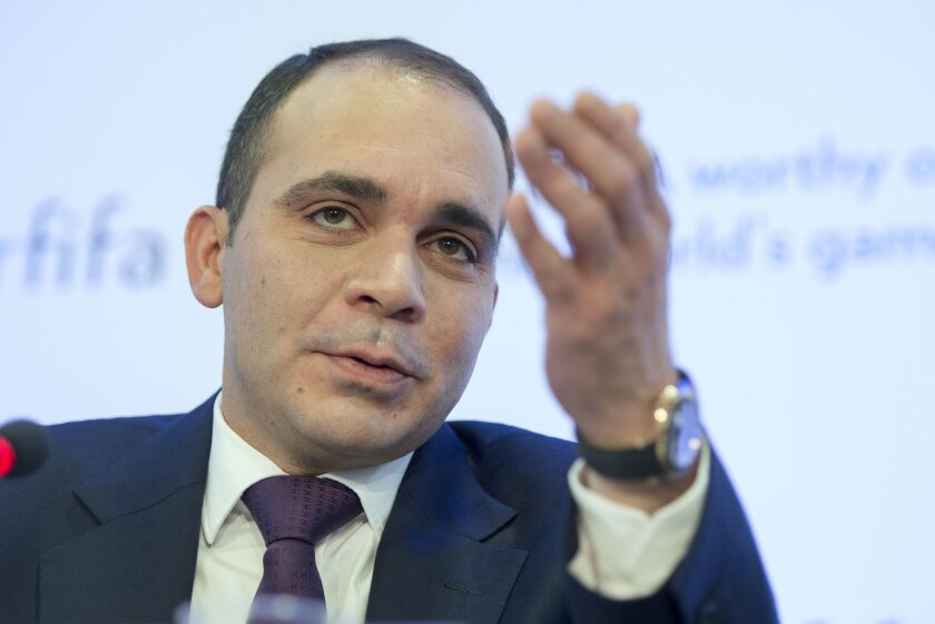 Prince Ali Al Hussein,  of Jordan, FIFA presidential candidate, speaks during a news conference at the  Swiss Press Club  in Geneva, Switzerland , Thursday, Feb.  11, 2016.  (Martial Trezzini/Keystone via AP)