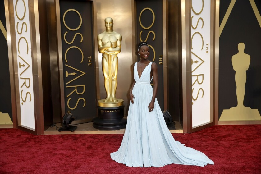 """12 Years a Slave"" actress Lupita Nyong'o on the Oscars red carpet."