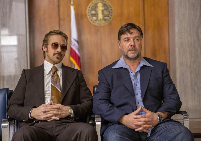 """Ryan Gosling, left, and Russell Crowe play private eyes in """"The Nice Guys."""""""