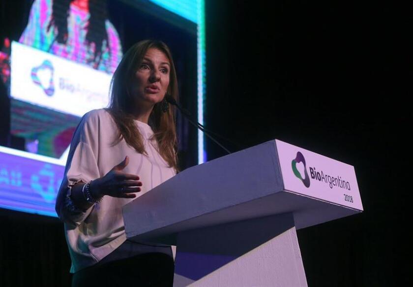 La ministra de Educación e Innovación de la ciudad de Buenos Aires, Soledad Acuña, habla durante la apertura de la quinta edición de BioArgentina hoy, martes 13 de noviembre de 2018, en Buenos Aires (Argentina). EFE