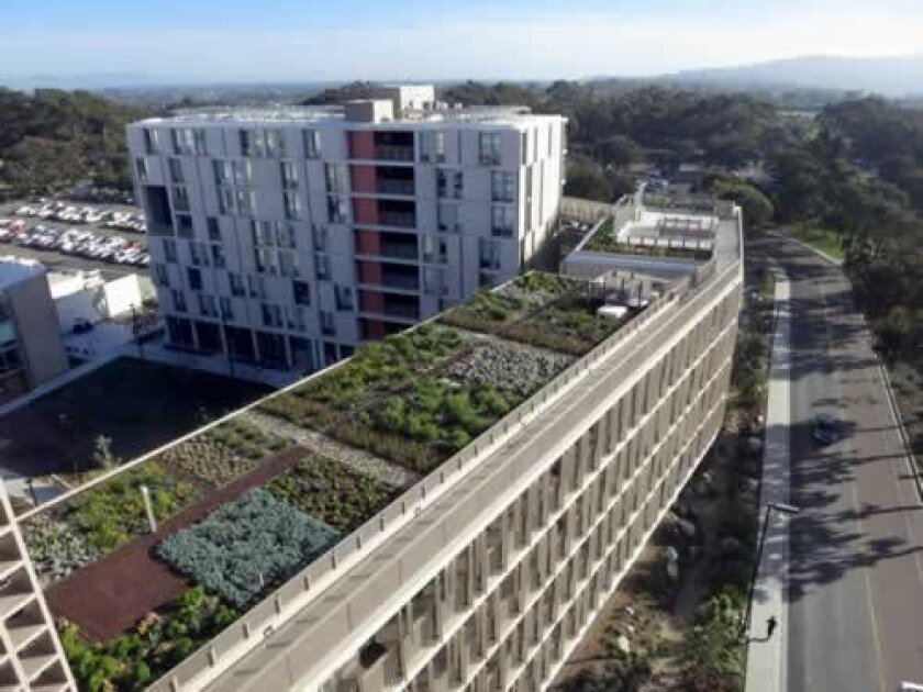 the Charles David Keeling Apartments at UC San Diego, designed by Spurlock Poirier Landscape Architects, feature an expansive roof with more than 4,000 plants that capture stormwater and provide thermal insulation. Courtesy