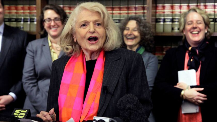 Edith Windsor during a news conference in New York in 2012. She died Tuesday at 88.