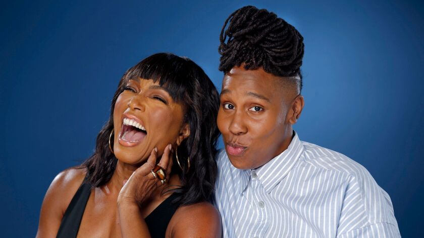 """Lena Waithe, right, who stars as Denise in Netflix's """"Master of None,"""" with Angela Bassett. Waithe co-wrote the show's standout episode """"Thanksgiving,"""" which features Bassett as Denise's mother."""