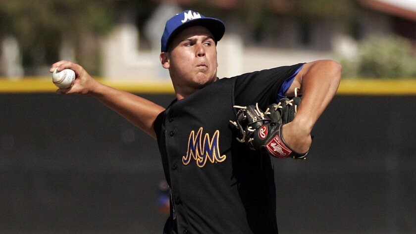 After allowing four runs in the third inning, Mira Mesa's Jake Newberry hung around to pitch a complete-game win for the Marauders, who face RBV in the second round.