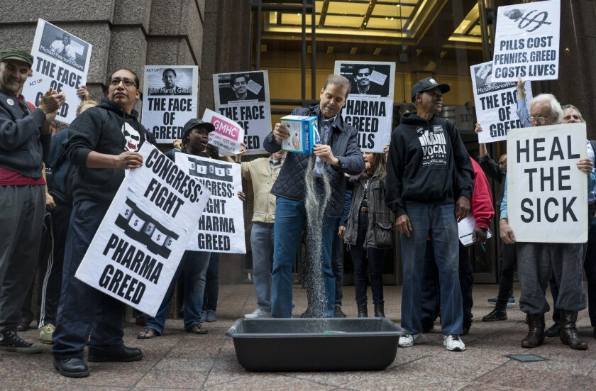 Activists protested profiteering by drug companies during a demonstration in 2015.
