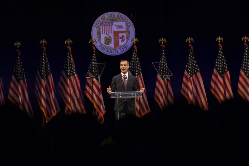 Los Angeles Mayor Eric Garcetti delivers his State of the City speech.