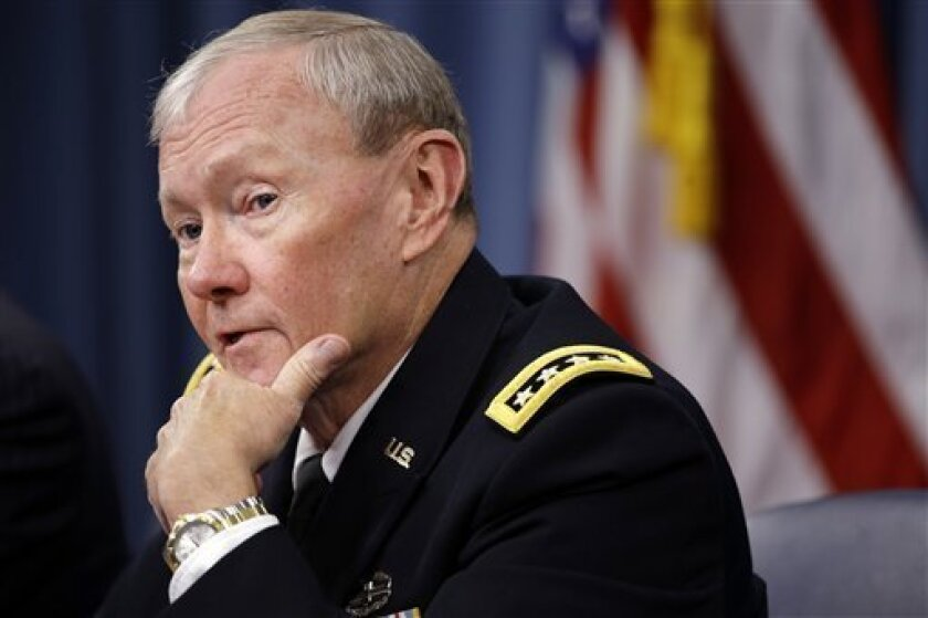 Joint Chiefs Chairman Gen. Martin Dempsey speaks during a news conference at the Pentagon, Thursday, Sept. 27, 2012. (AP Photo/Jacquelyn Martin)