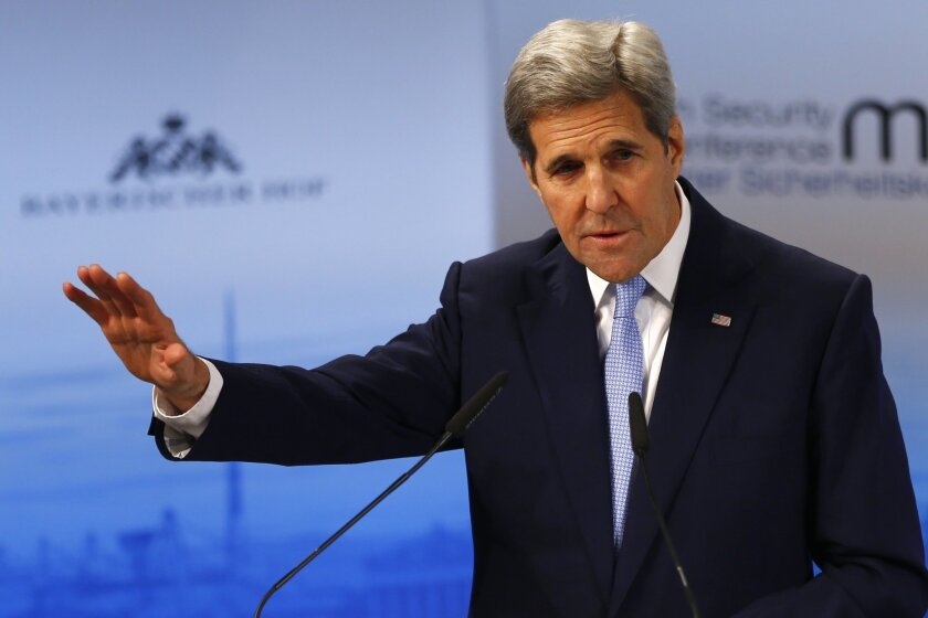 U.S. Secretary of State, John Kerry, gestures during his speech   at the Security Conference in Munich, Germany, Saturday, Feb. 13, 2016. (AP Photo/Matthias Schrader)