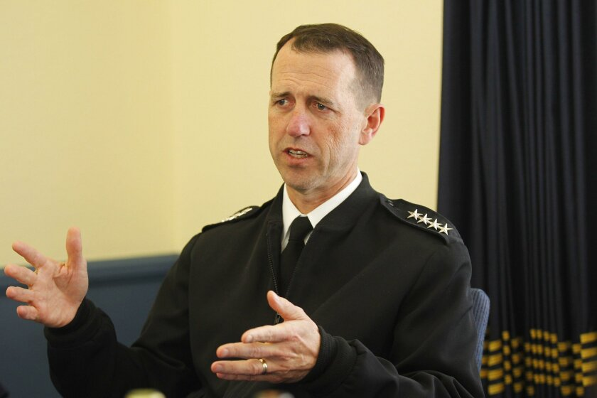 Adm. John Richardson, the chief of naval operations, during a visit to Naval Base San Diego.