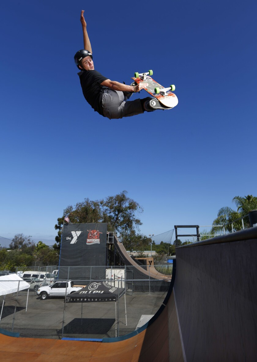 Skateboarder Jeromy Green will perform and compete at the Clash at Clairemont Saturday at the Mission Valley YMCA Krause Family Skate & Bike Park. (K.C. Alfred/San Diego Union-Tribune)