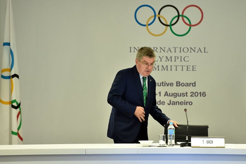 International Olympic Committee President Thomas Bach arrives for the IOC Executive Board Meeting ahead of the 2016 Summer Olympics on July 30, 2016 in Rio de Janeiro, Brazil. (Pascal Le Segretain/Pool Photo via AP)