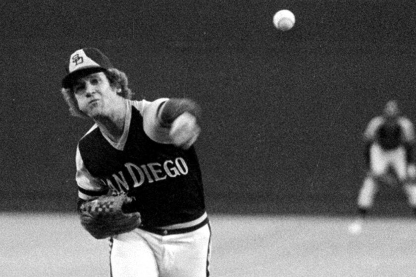 San Diego Padres pitcher Randy Jones, warms up Aug.18, 1976, for a night game at Busch Stadium in St. Louis. Jones has a 19-7 record and is hoping for number 20.  (AP Photo/JAC)  User Upload Caption: Randy Jones