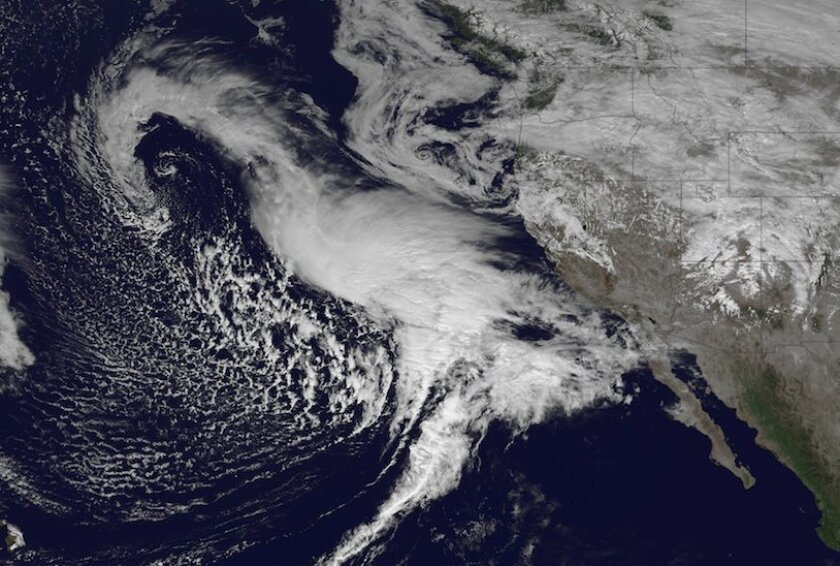 A NOAA satellite took this image of the Pacific storm as it approached California late Thursday.