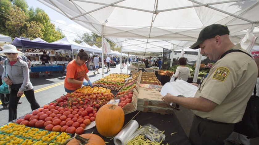Inspector Gary Phinney checks produce at the Brentwood Farmers Market.