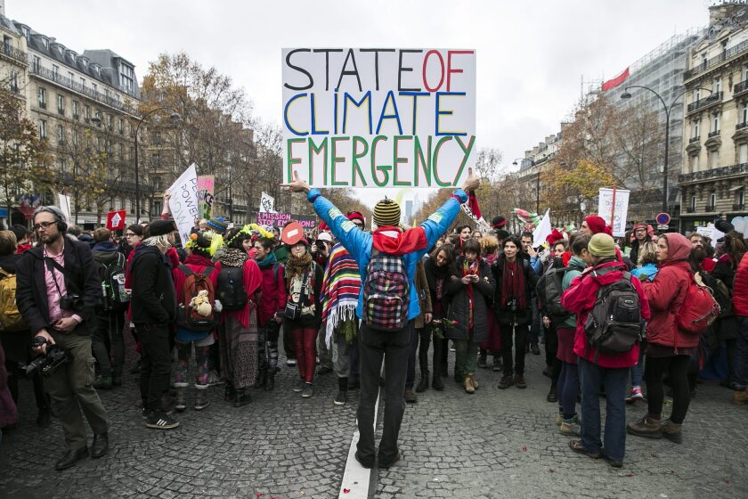 A climate change protest in Paris in 2016.
