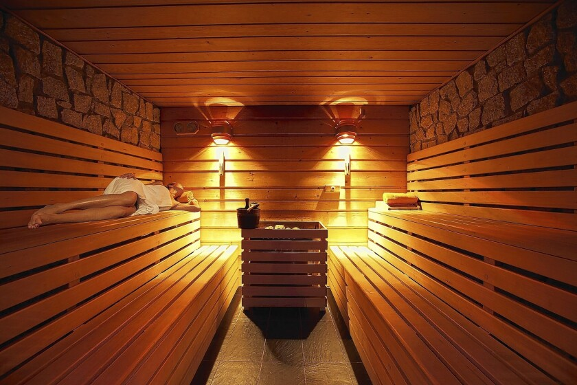 After working up a sweat in the sauna, a plunge into a cold pool is recommended.