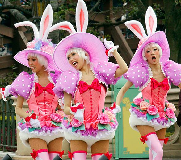 """Performers dressed as bunnies in the """"Easter Wonderland"""" parade at Tokyo Disneyland, which reopened for the first time since Japan's devastating earthquake and tsunami."""