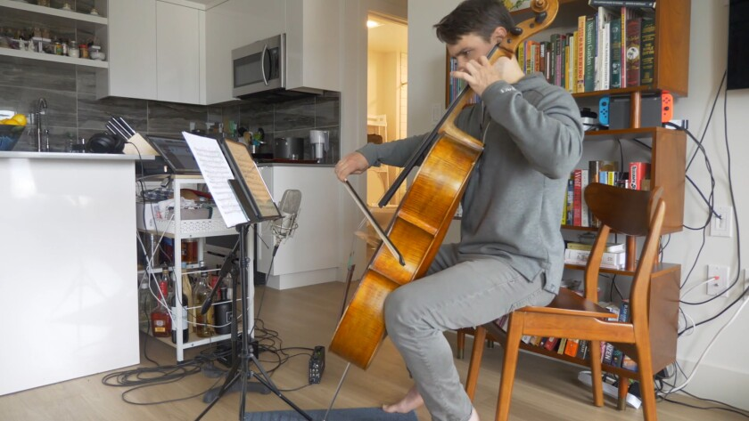 Cellist Andrew Janss performs a virtual concert for Project: Music Heals Us.