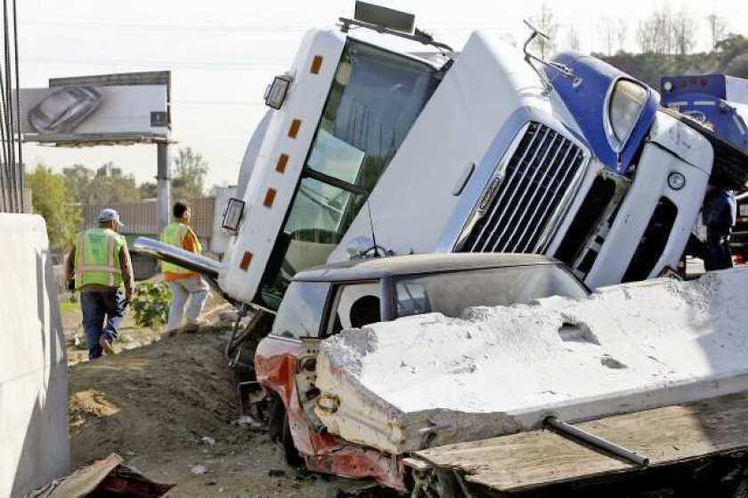 No one hurt in overturned tanker crash on 5 Freeway